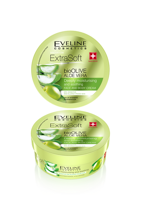6PCS Eveline Soft Bio Olive Aloe Vera Face & Body Cream 175 ml