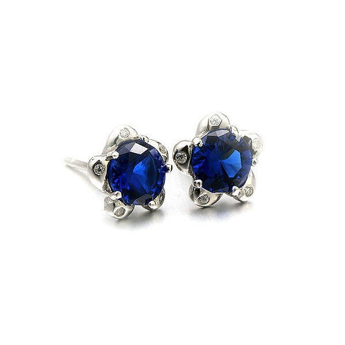 S925 Sterling Silver Stud WITH BLUE ZIRCON