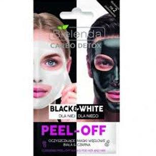 18PCS CARBO DETOX BLACK & WHITE CLEANSING PEEL-OFF MASK FOR HER & HIM 2X6G
