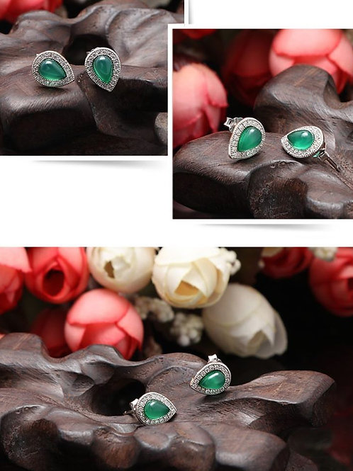 925 STERLING SILVER WITH CZ  EARRINGS