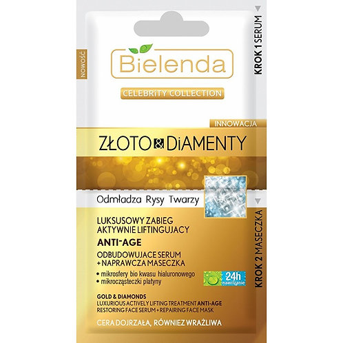 18PCS GOLD&DIAMONDS Luxury face treatment  serum + face mask 2x5 g