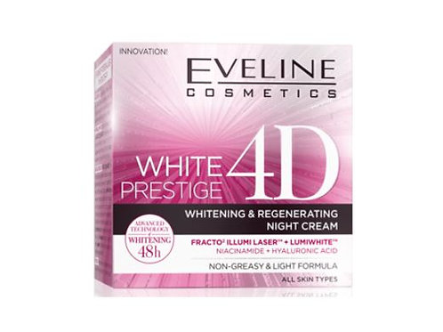 5pcs Eveline WHITE PRESTIGE 4D INTENSIVE WHITENING NIGHT CREAM 50ML