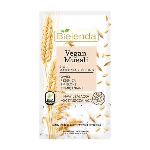 18 pcs VEGAN MUESLI 2 in 1 moisturizing mask oats + wheat + flax seed 8 g