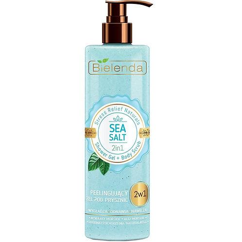 6pcs Stress Relief Naturals Sea Salt 2 in 1 Shower Gel & Scrub 410g