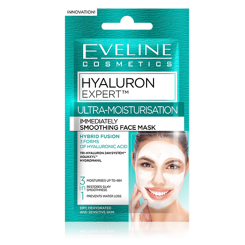 60pcs HYALURON EXPERT IMMEDIATELY SMOOTHING FACE MASK -£0.24 PER UNIT