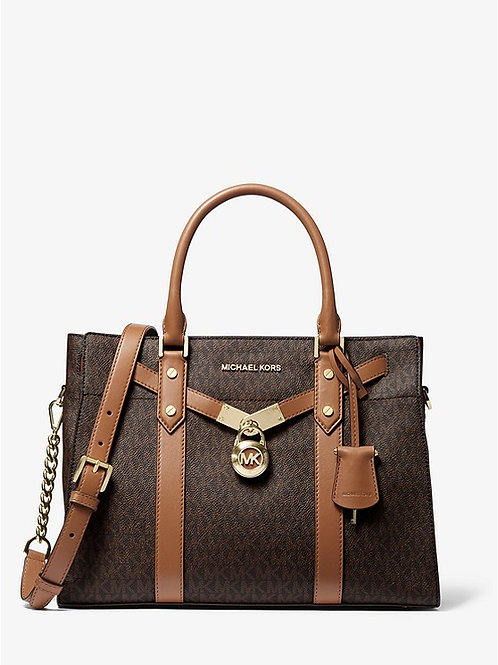 MICHAEL KORS Nouveau Hamilton Large Logo and Leather Satchel