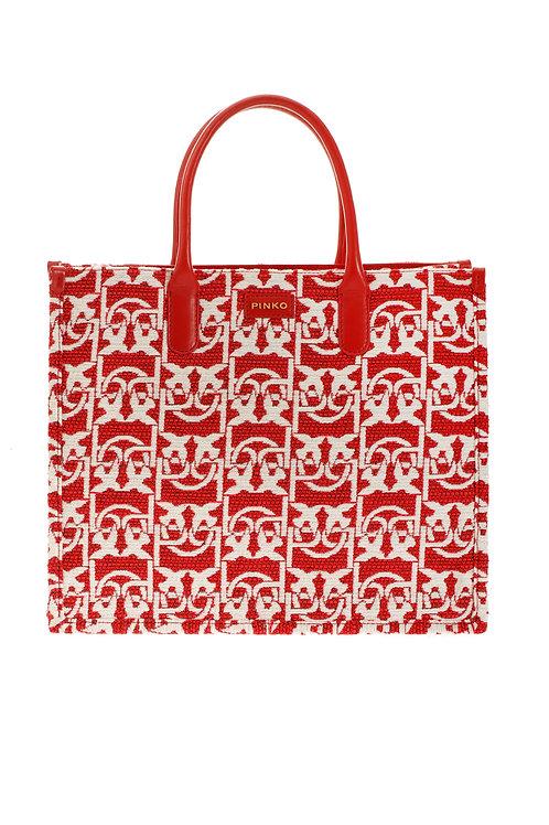 PINKO Love Bag Shopping Monogram In Jacquard