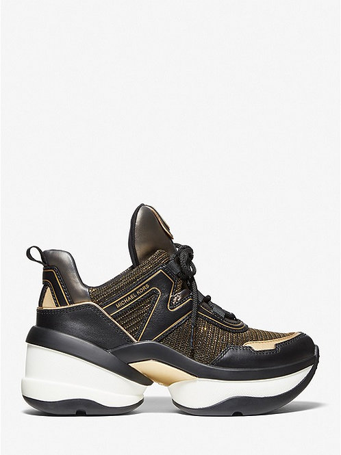 MICHAEL KORS Olympia Glitter Chain-Mesh and Metallic Leather Trainer