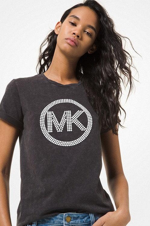 MICHAEL KORS Embellished Logo Acid Wash Cotton Jersey T-Shirt