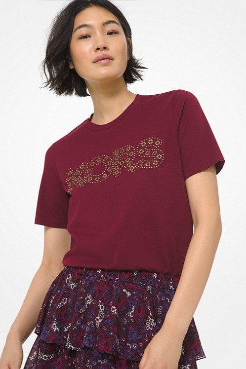 MICHAEL KORS Studded Logo Cotton Jersey T-Shirt