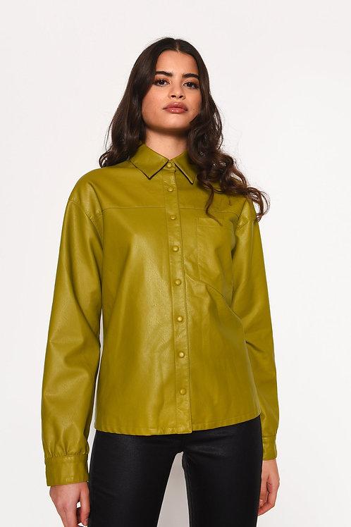 GLAMOROUS Moss Green PU Shirt