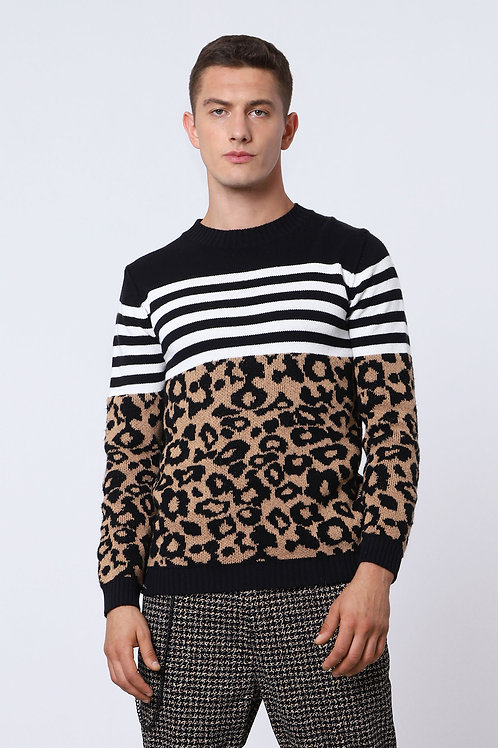 IMPERIAL Crew-Neck Pullover With Multiple Prints