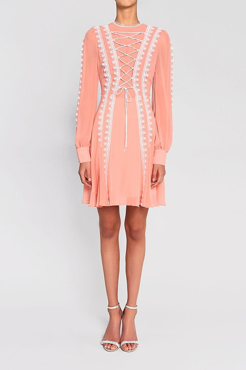 True Decadence  Peach & White Contrast Lace Up Front Mini Dress