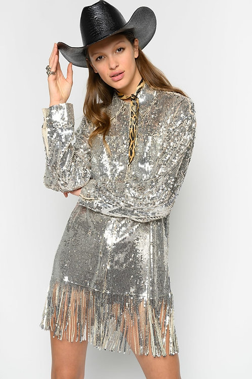 PINKO Shirt-style jucket in full sequins