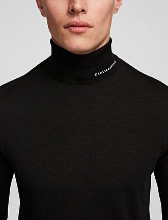 KARL LAGERFELD MERINO WOOL ROLL NECK JUMPER