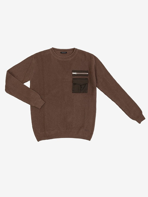 GIANNI LUPO RIBBED SWEATER WITH POCKET