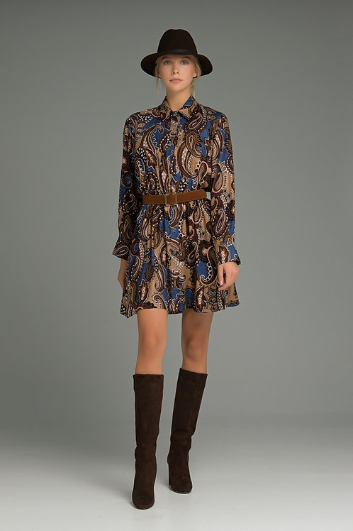 MANOLO Blue-Brown Mini Shirt Dress