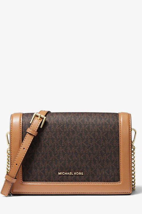 MICHAEL KORS Jet Set Large Logo and Leather Crossbody Bag