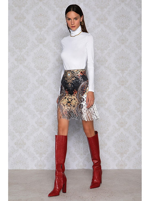 Peace&Chaos Sequin Printed Skirt with Fringe