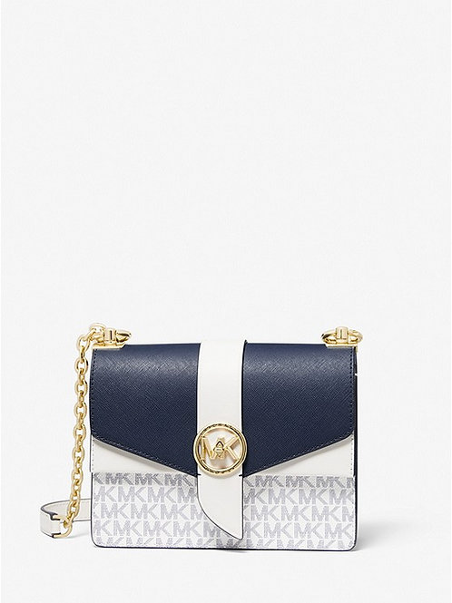 MICHAEL KORS Greenwich Small Color-Block Logo and Saffiano Leather Crossbody Bag