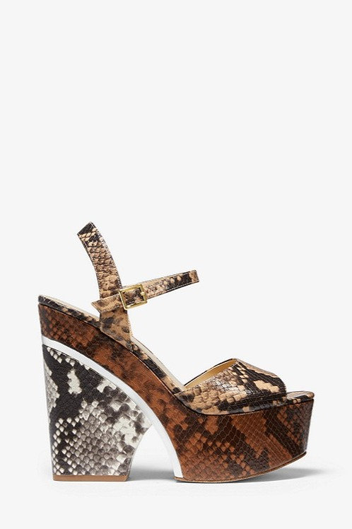 MICHAEL KORS Lana Color-Block Python Embossed Leather Wedge Sandal