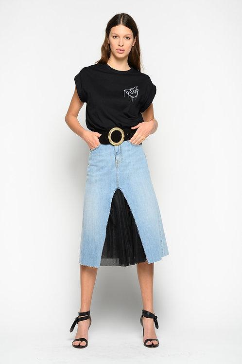 PINKO Denim And Tulle Skirt