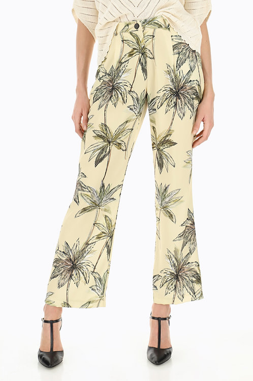 DIXIE Flared tropical-print trousers