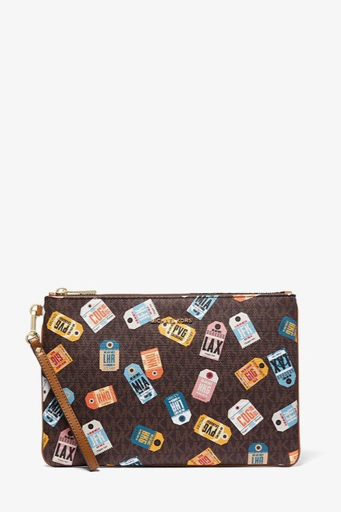 MICHAEL KORS Large Printed Logo Zip Pouch