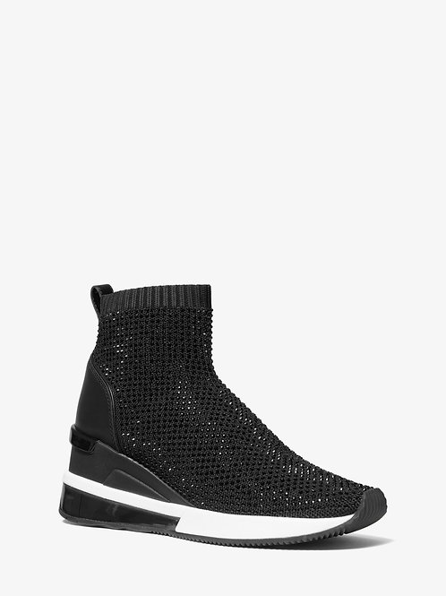 MICHAEL KORS Skyler Embellished Stretch-Knit Sock Sneaker