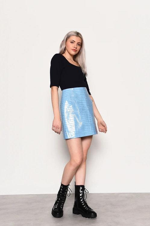 GLAMOROUS Blue Croc PU Mini Skirt
