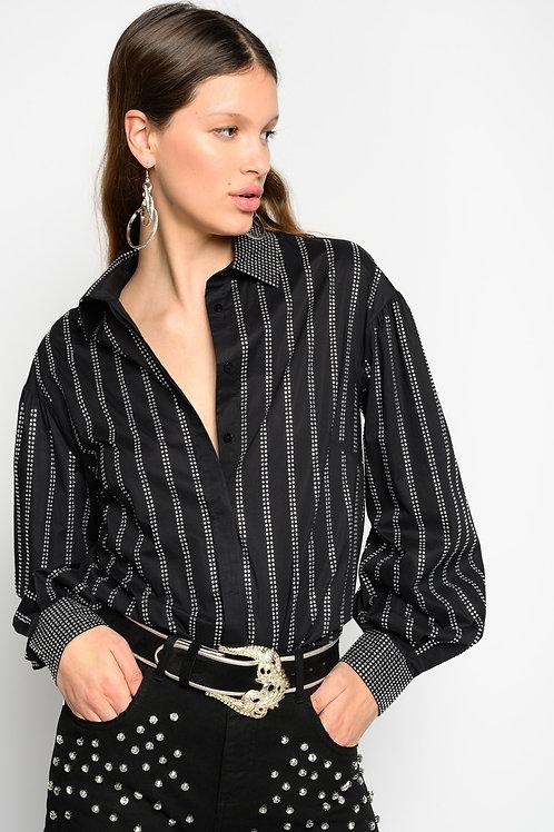 PINKO Shirt With Rhinestone Stripes