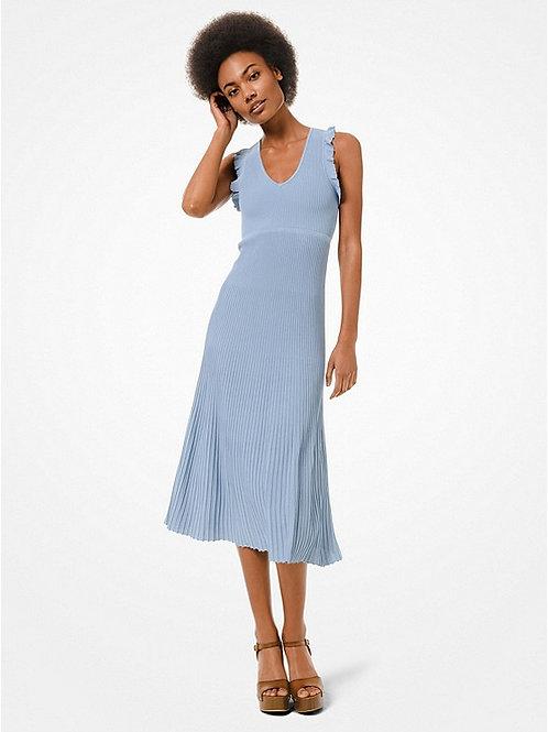 MICHAEL KORS Ribbed Stretch Viscose Ruffle-Trim Dress