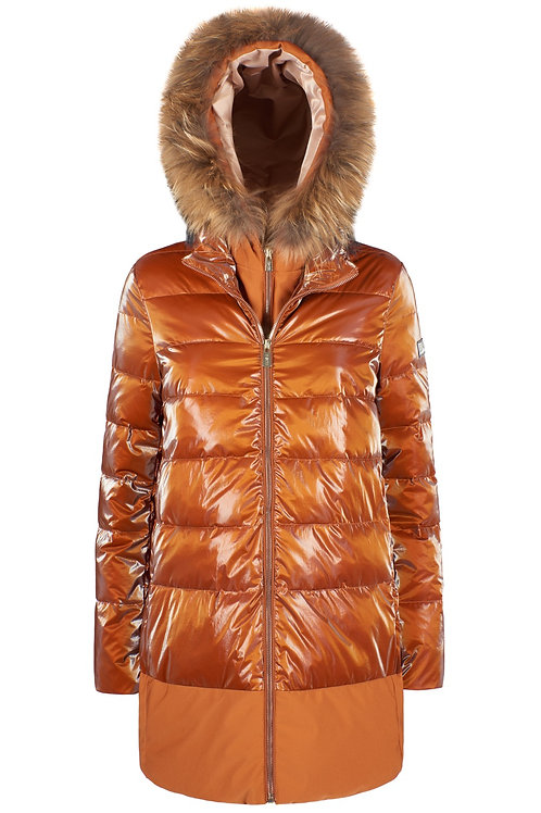 YES ZEE ORANGE PUFFER WITH REAL FUR