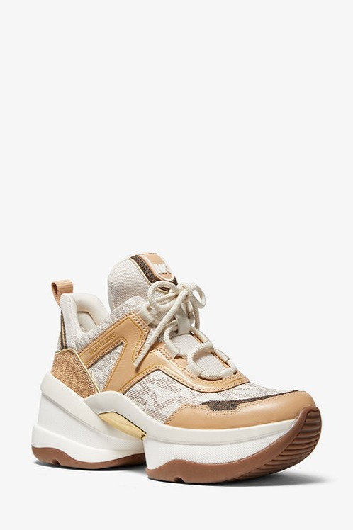 MICHAEL KORS Olympia Logo and Leather Trainer