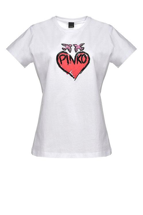 PINKO T-SHIRT WITH GRAFFITI HEART