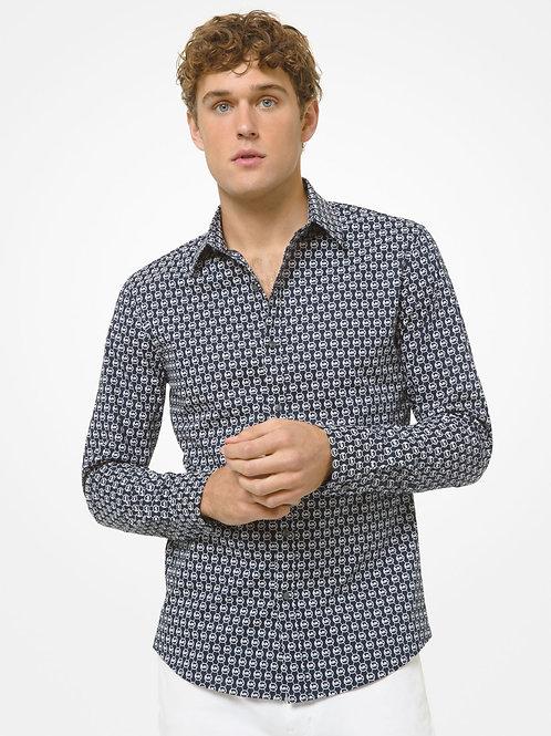 MICHAEL KORS Logo Link Stretch Cotton Shirt