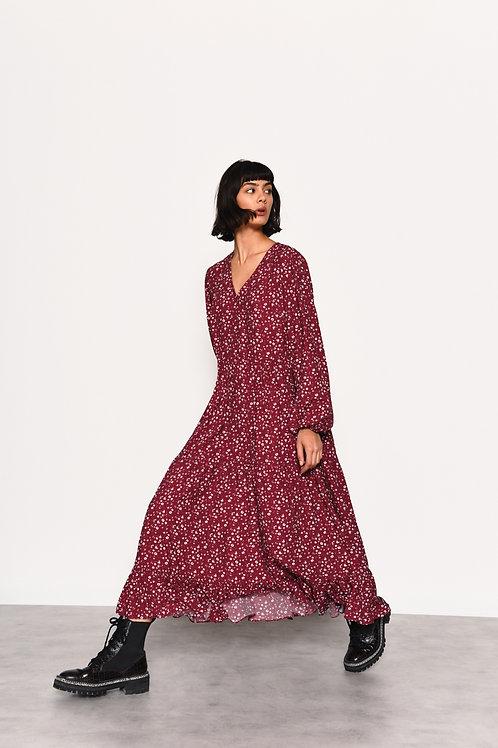 GLAMOROUS Maroon Ditsy Midi Dress