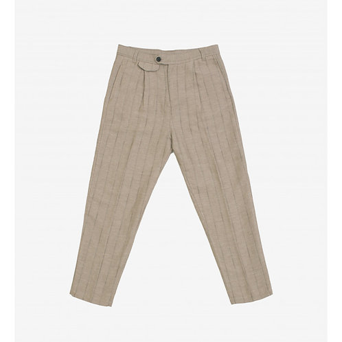 GIANNI LUPO STRIPED LINEN BLEND TROUSERS