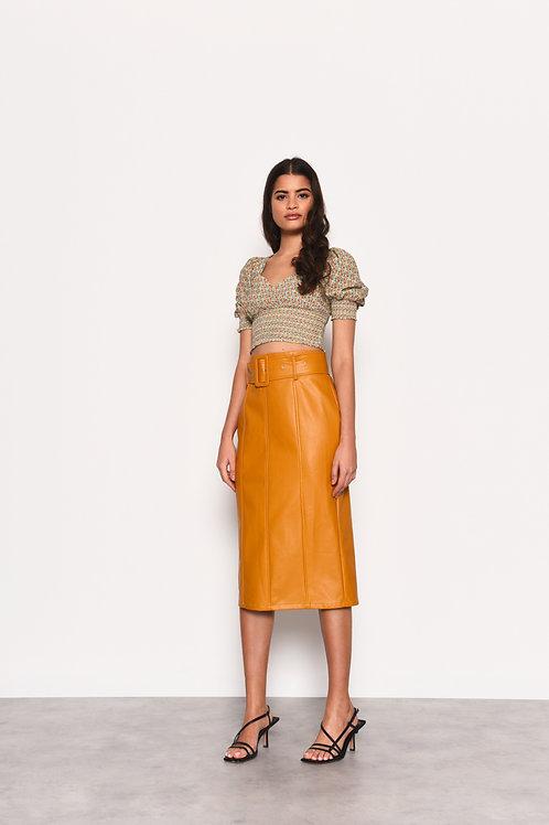 GLAMOROUS Golden Ochre PU Midi Skirt