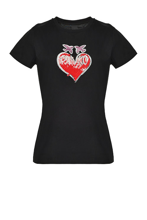 PINKO T-SHIRT WITH SEQUINNED HEART