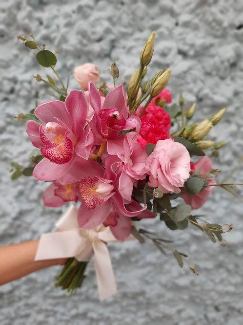 Buquê de Noiva Médio com Orquídea Cymbidium