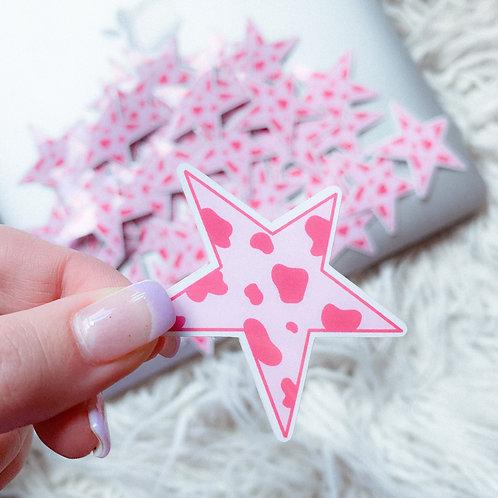 Cow Print Star Sticker