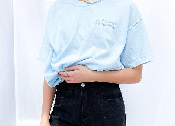 Good Things Are Coming Embroidered Tee- Light Blue