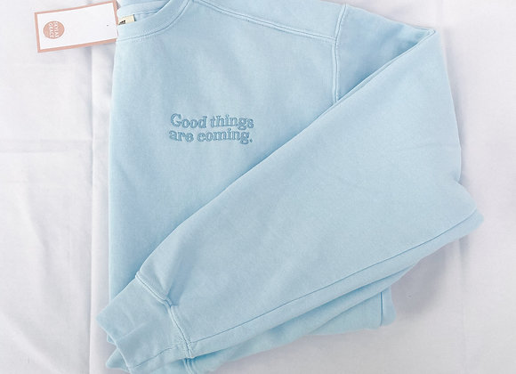 Good Things Coming Embroidered Crew- Light Blue