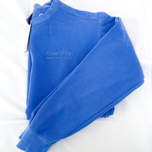Good Things Coming Embroidered Crew- Electric Blue