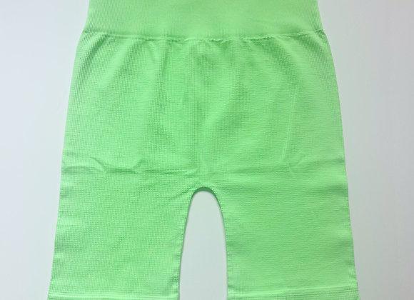Green Ribbed Biker Shorts