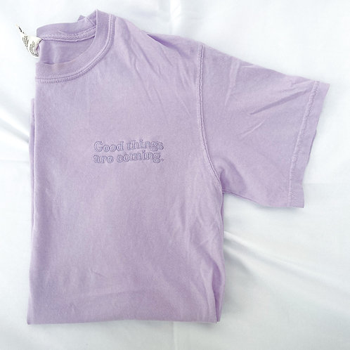 Good Things Are Coming Embroidered Tee- Lavender