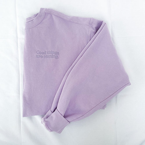 Good Things Coming Embroidered Crew- Lilac