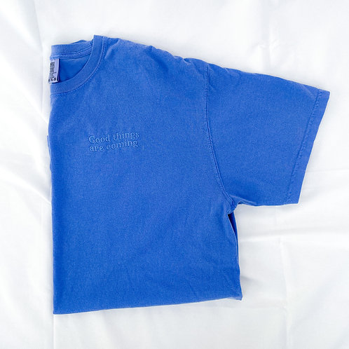 Good Things Are Coming Embroidered Tee- Electric Blue