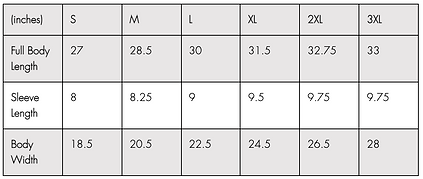 Tee Size Chart
